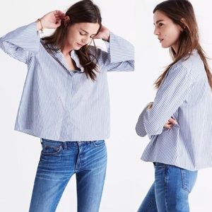 Madewell Bell Sleeved Striped Blue & White Blouse